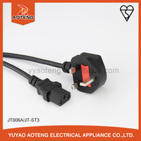 British standard BS approval 3A 5A 10 13A Plug white or black power extension,Bhutan-Gambia ac power cord