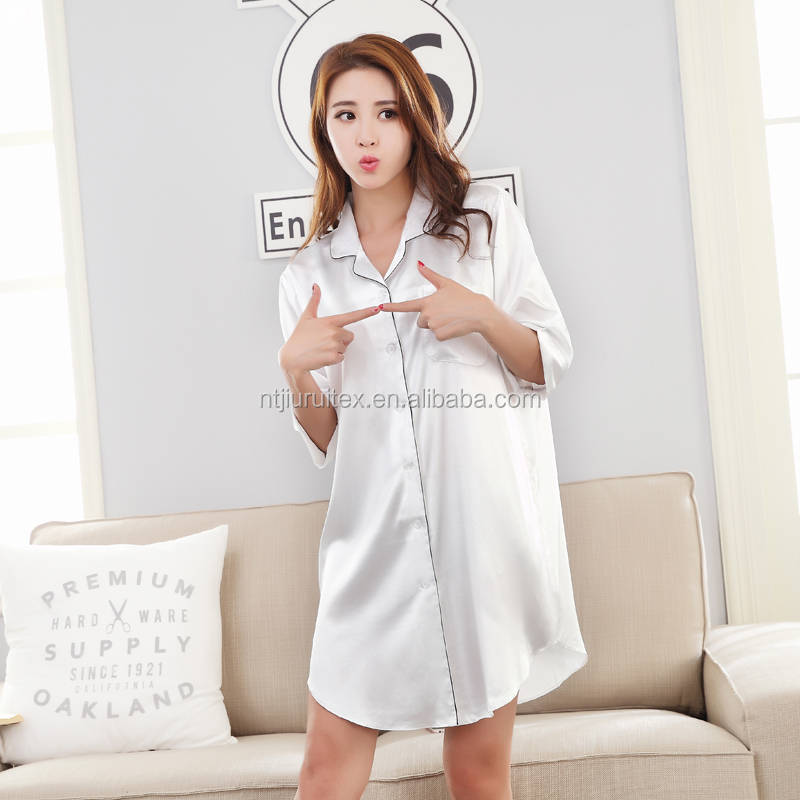100% Polyester Satin sexy Nightshirt for Women