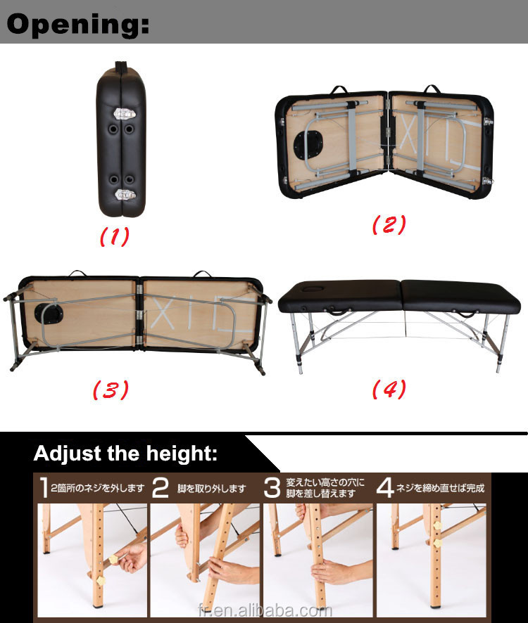2 section portable folding massage table