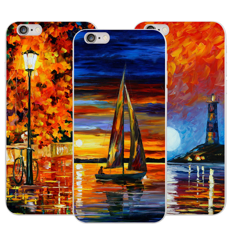 Art oil painting smart phone cover accessories for LG V20 colorful canvas phone case for iPhone 6plus PC 2017