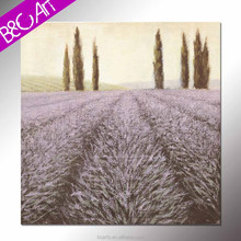Rural style wall art modern floral lavender scenery canvas painting