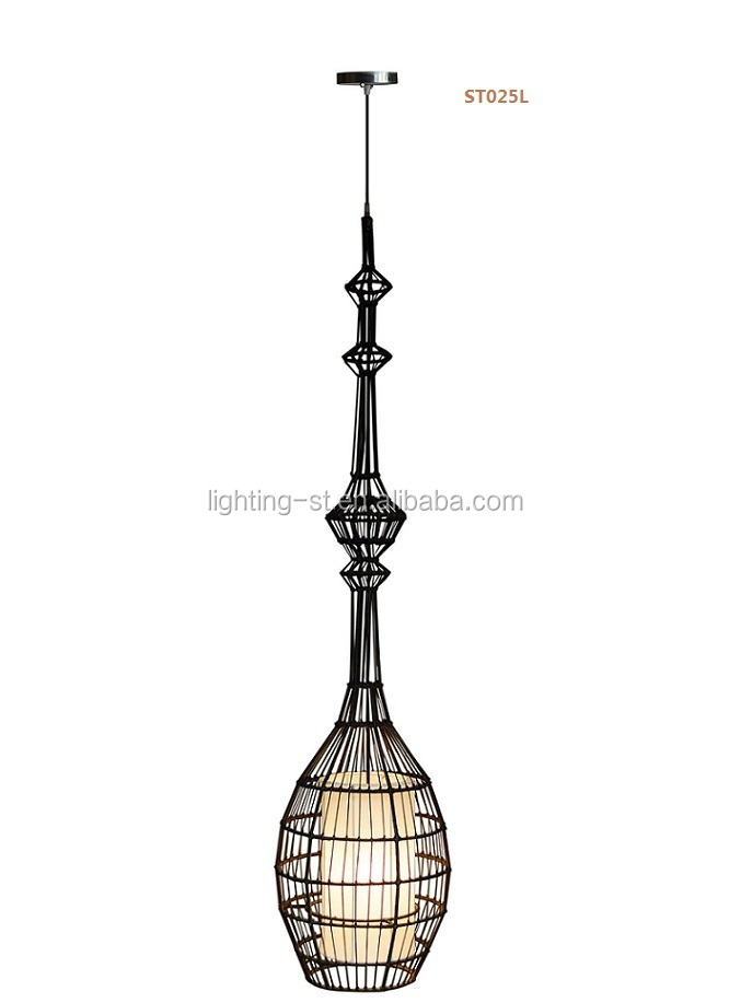 Loft American Nordic Coffee Shop Wrought Iron Cage Lamps Black Wire Pendant Lamp