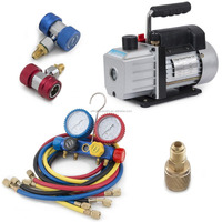 4CFM Rotary Vacuum Pump 1/3HP w/ AC Manifold Gauge Set R410 R22 R134 R407C