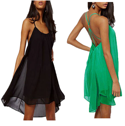 2015 JaneBoutique Women Summer Casual Dress Sexy Chiffon Mini Sleeveless Spaghetti Strap Beach Party Dresses