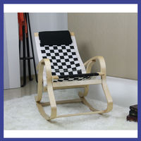 ikea good design wooden birch bentwood with black and white pp belt rocking chair
