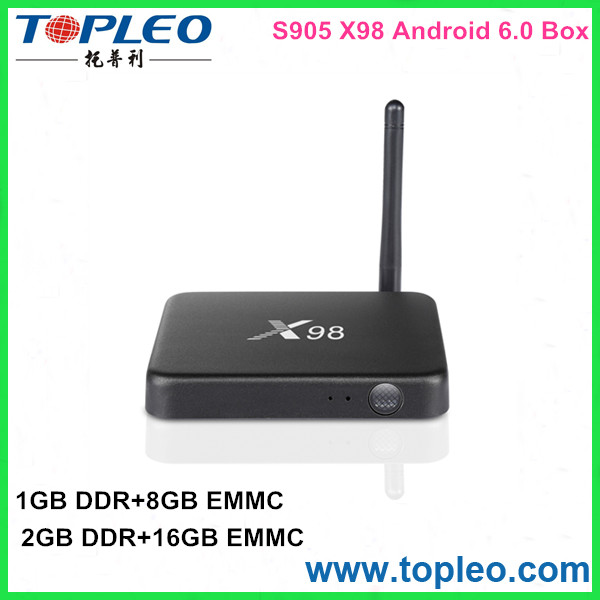 S905 Quad Core DDR2 2G EMMC16G X98 Android 5.1& 6.0 TV Box