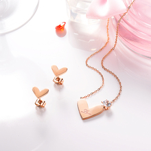 BAOYAN Rose Gold Plated Love Heart Stainless Steel Bridal Jewelry Set with Cubic Zirconia