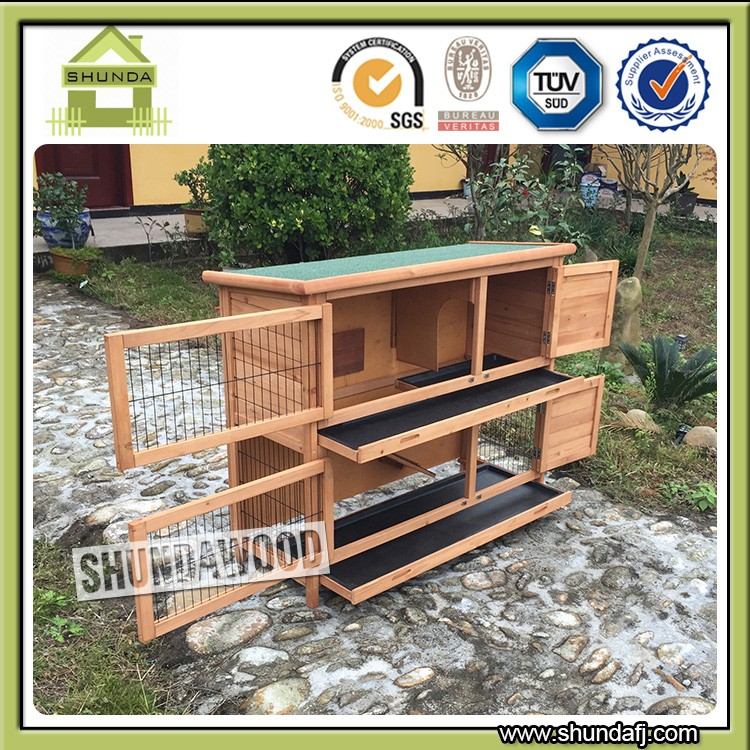 Quality Assured SDPets SDR020 Custom double decker rabbit hutch rabbit house wooden pet house