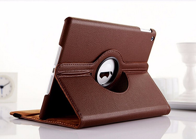 For Ipadair case 360 degree rotating leather flip smart cover case for ipad2345