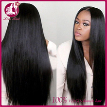 High quality 6A grade natural Hair line glueless Wig brazilian remy Full Lace Wig Silky straight Human Hair Wig