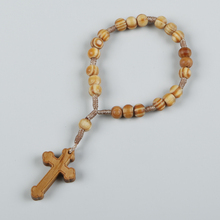 Simple design Chinese produce handmade religious olive wood cord bracelet