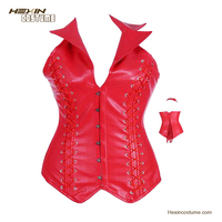 New Fashion With Collar Sexy XXL Waist Reducing Leather Steel Boned Red Corset