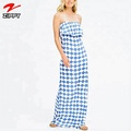 Latest fashion dress print tiered evening maxi dress