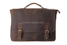 OEM custom your own design crazy horse leather laptop messenger bag
