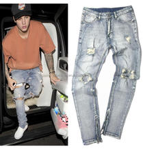 Justin Bieber jeans hombre new cotton denim stretch skinny ripped jeans for fashion men
