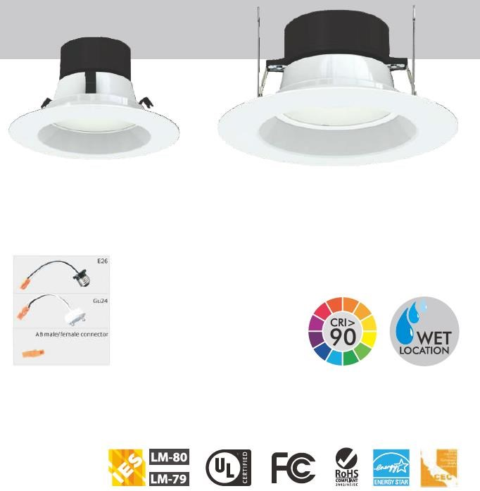 Dimmable Recessed downlight UL ETL Listed 15w led ceiling down light