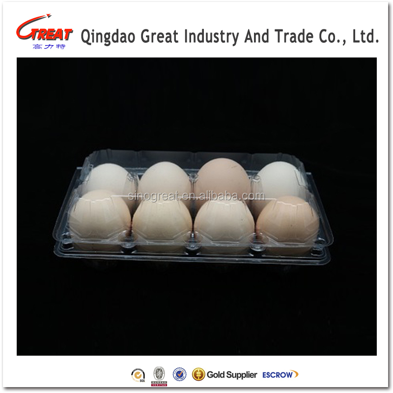 Wholesale customized food grade PET plastic egg tray with lid for eggs
