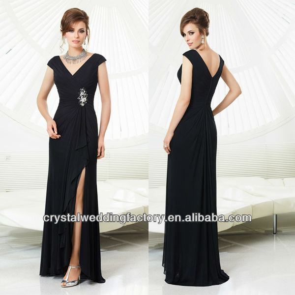 2014 V-neckline beaded ruched cap sleeve wholesale floor length black mother of the groom dresses CWFam5647