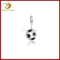 2016 Hottest Charm Jewelry Wholesale Stainless Steel Cute Football Engraved Chamrs