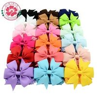 594 Double Usage Detachable Elastic Baby Bowknot Hairband Solid Bows With Clip Kids crochet headbands