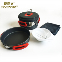 Best Selling stainless gas porcelain camping cookware with carry bag