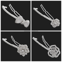 Christmas Gift New Arrivals Wholesale Price Women Luxury Wedding Party Cubic Zirconia Flower Hair Clip