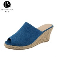 High Quality Fashionable Jean Open-toe Platform High Heel Lady Slipper from China