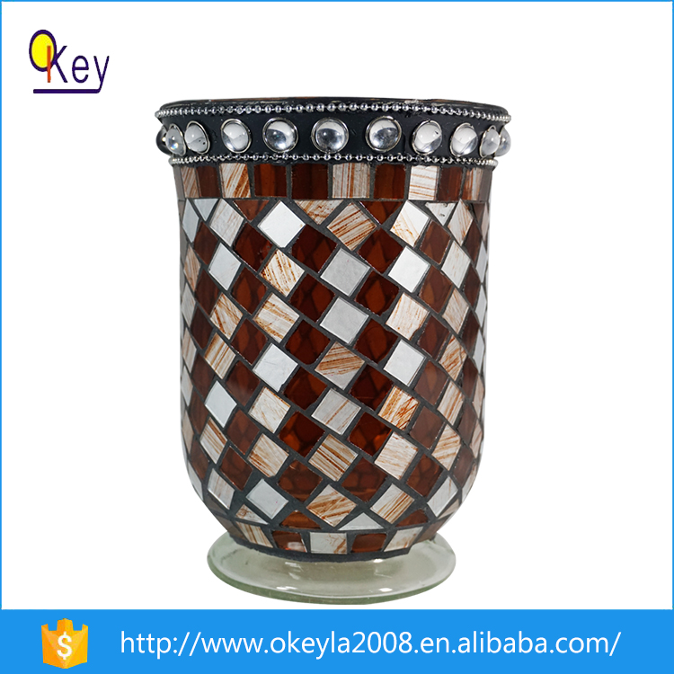 2016 fashional wholesale home decoration mosaic glass vases with led lights
