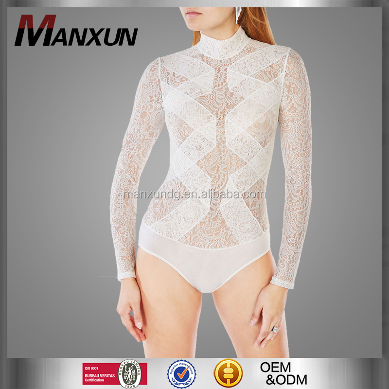 Custom Sexy Hot Mature Women Bodysuit Lace Lingerie For Fat Pajama Snap Crotch Cotton Jersey Shapewear Bodysuit