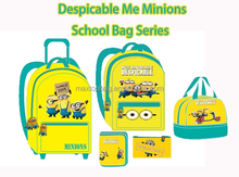 2015 Minions kids school bag series Despicable Me Backpack Trolley & Lunch Tote Pencil case NBCU manufacturer