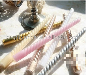 unique wedding gift candle,paraffin wax spiral taper candle