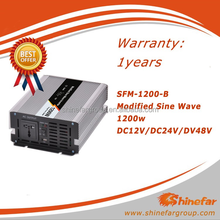 Shinefar Modified Sine Wave Inverte1200W DC 12/24/48V AC 110 or 220 for off -grid solar system