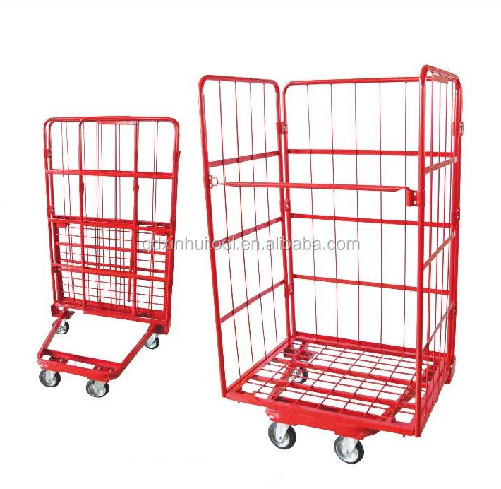 Three Sided Open Front Mesh Pallet Steel foldable storage trolley cart TC4626