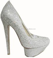 Ladies white crystals high heel fashion shoes