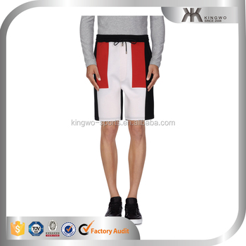hot selling men fashion knee shorts sweatshort color block fashion short