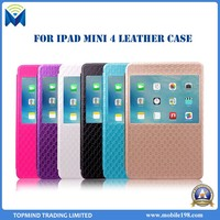 Diamond-shaped Style Flip Wallet Leather Case for iPad Mini 4 with Window View