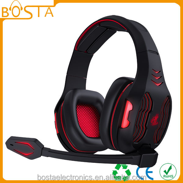 Hot sell professional high end 7.1 sound LED Light gaming headset with romote vol mic control