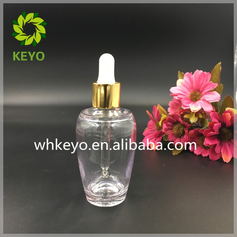 50ml high quality Thick wall PETG dropper bottle with shiny gold dropper