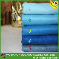 2017 cheap soft 100% polyester blue suede material