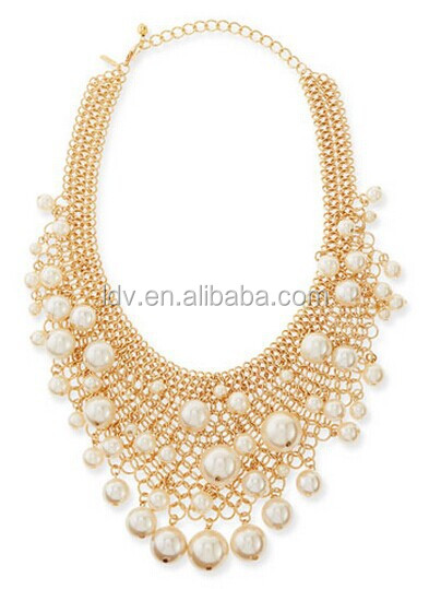 Gold-Plated Mesh Bib Necklace with Simulated Pearls