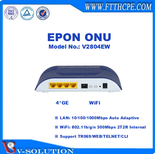 4GE+WiFi+CATV GPON ONU with 1RF Output Support TR069 and Web Management