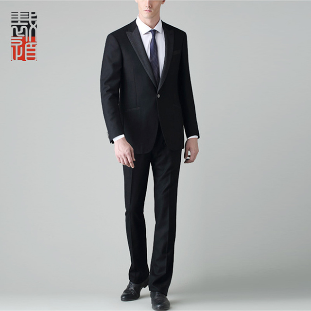 Roomy Design Black Wedding Dress 1 Button Tuxedo Suit For Men
