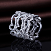 fashion desgin micro pave 925 silver unique rings for ladies