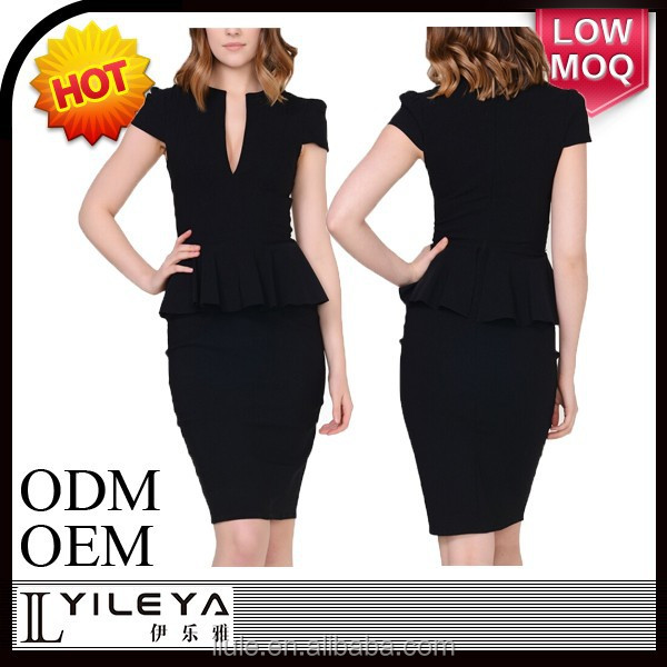 sexy black formal office dress for ladies 2016 with blazer