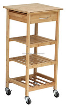 Natural Bamboo kitchen serving trolley/bamboo trolley cart/wine rack with drawer