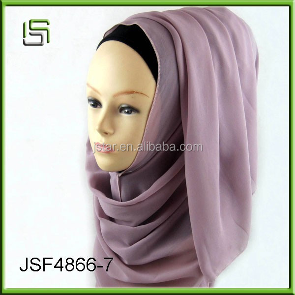 2017 new large chiffon scarf hijab scarf solid color multi-functional Muslim long towel women