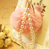 Hot Selling Faux Rabbit Fur Ball KeyChain With Beads Plush Fur Pom Pom Key Chain Ball Pendant Bag Accessories EH-421