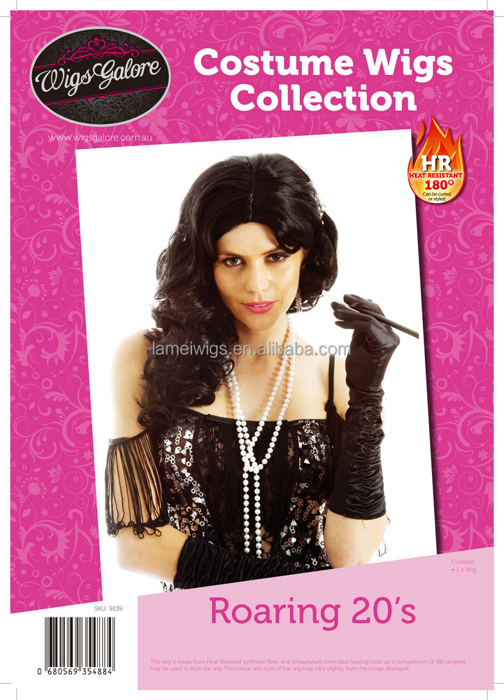 Newlook Q9139 long curly black wig factory cheap synthetic elegant cosplay partty hair weft