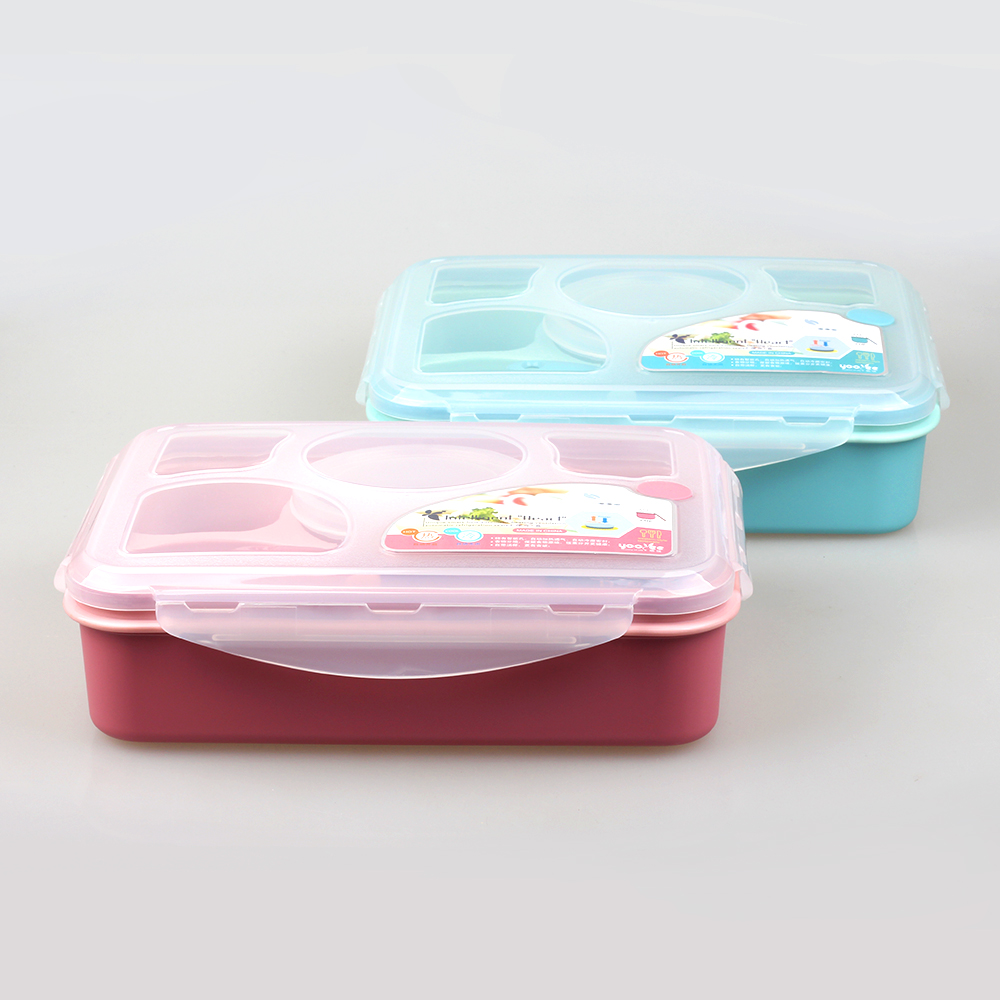 (YOOYEE) Food grade PP Muti-grid Plastic lunch box tiffin carrier with lid