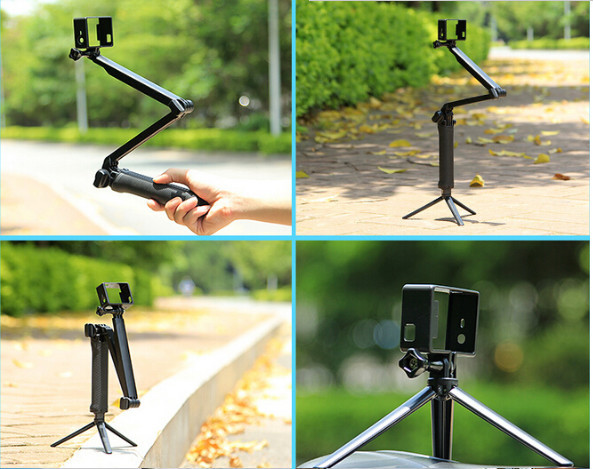 Hand-held Extended Grip Mount Monopole 3-Way Multi-function folding monopod lever tripod For Gopro or any other sport camera